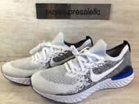 Men's Nike Epic React Flyknit 2 White/Black/Racer Blue BQ8928-102 Size 11.5