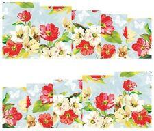 Nail Art Calcomanías Traslados Pegatinas Flores Crema Rojo (A-154)