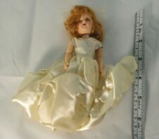 "Vintage 6"" Mohair Jointed Arm Sleepy Eye Bride Doll"