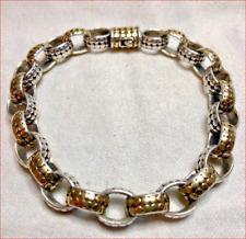 """Heavy 1.9oz John Hardy 18K Gold Dot Sterling Silver Oval Link Bracelet 8"""" SALE!!"""