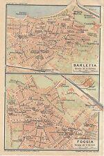 Carta geografica antica BARLETTA FOGGIA Piante Puglia TCI 1926 Antique map