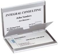 sigel Visitenkarten-Etui Twin Aluminium silber matt 2 Fächer Alu Metall 30 Karte