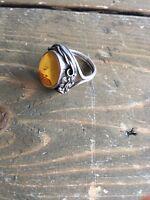 Vintage Sterling Silver Amber Artisan Ring Size 7.75