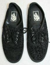 Vans Low Top Shoes Black Leopard Print Lace Up TC6D Unisex Mens 7 Womens 8.5