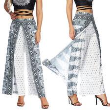 Women Boho Yoga Pants High Waist Slit Thai Baggy Gypsy Hippie Harem Trousers G12