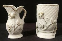 """Vintage Pair of Made In Japan Miniature Footed Vases White Gold Accent 2.5"""" Tall"""