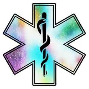 EMS Star of Life Multi Colored Glitter Sticker Decal (Select your Size)