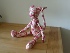 """Handmade Multicoloured Cat With Movable Limbs Approx 14"""" Tall."""