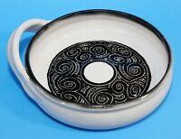 Hand-Thrown Studio Art Pottery Bowl, One Handle, Large, White, Black, Signed RL
