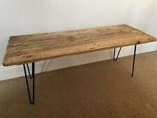 Industrial style coffee table handmade with reclaimed wood & metal hairpin legs