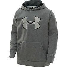 NWT Under Armour Boys  Fleece Storm Big Logo Hoodie Astro Gray YMD Youth Medium