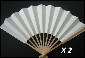 2 Pcs. Japanese SENSU Fan Shodo Calligraphy/ Plain White/ Made in Japan