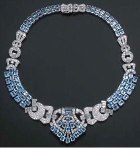 Beautiful Aqua & White Diamond Art Deco Style Highend Necklace Converts Tiara