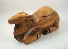 Unique Hand Carved Heavy Wooden Camel Trinket - Stash - Box