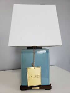 NWT! Brand New Ralph Lauren Teal Blue Crackled Porcelain Table Lamp & Shade CUTE