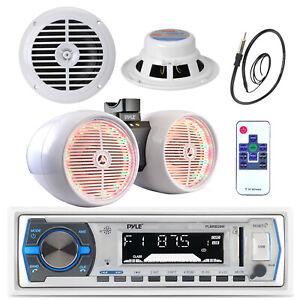 """6.5"""" Marine Box 800W Speakers, Antenna, Pyle Bluetooth USB Radio, 6.5"""" Speakers"""