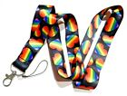 RAINBOW HEART LANYARD pride flag LGBT love LGBTQIA gay key chain ID strap 4J
