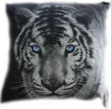 White Tiger Filled Square Animal Cushions | Cotton / Polyester | Blue Eyes