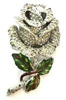Coro Corocraft Brooch Rose Vintage Fur Cape Dress Pin Unsigned Rhinestones Gift