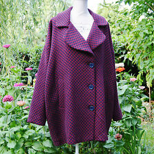 Manteau veste Femme Grande Taille 54 56 laine rouge Marjolaine ZAZA2CATS new