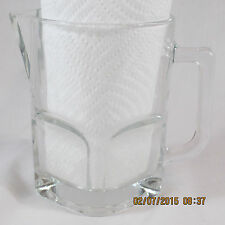 """Glass Pitcher Clear Italy # 6 square bottom with handle pour spout 5 1/4"""" tall"""