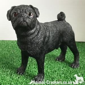Black standing Pug ornament quality realistic figurine Leonardo range Gift boxed