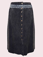 NEW EAONPLUS BLACK Button Through Royal Lace Waist Skirt Plus Sizes UK 18 to 28