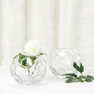 """2 pcs 4"""" tall Clear Glass Geometric Faceted Vases Wedding Party Centerpieces"""