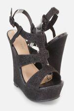 "5.5"" Black Shimmer Rhinestone Platform Wedges High Heel Gladiator Sandals W47"