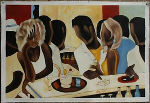 """Art sale DECO oil painting on canvas figures the band 100% hand painted 24""""x36"""""""