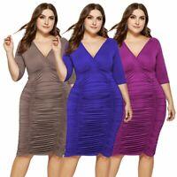 Women Party Sexy Knee Long Dress Short sleeve evening Ball Gown dress Plus Szie