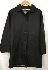 Burberry Trenchcoat Single Breasted Ladies Black Wool Plaid Lining Size 8