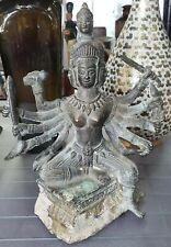 Circa 18th Century Indian Hindu Gilt Bronze Trimurti Figure