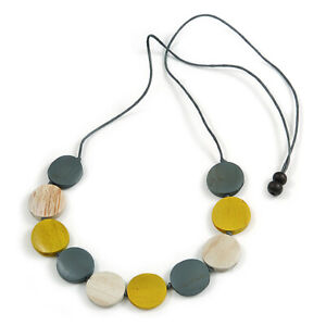 Wooden Coin Bead Grey Cotton Cord Necklace/Grey/White/Yellow/86cm L (Max Length)