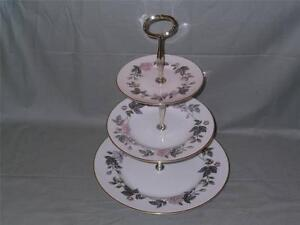 Royal Worcester June Garland 3 Tier Hostess China Cake Plate Stand (Lot B)