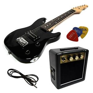 E-Gitarre für Kinder Mini 78cm - schwarz + Verstärker MA05 + 3Pik + Style 2