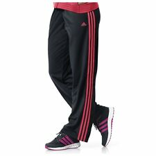 Women's New Adidas Pants 3 Stripes Black Flash Red Athletic Work Out NWT 3XL