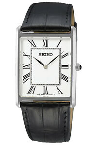 Seiko Men's Watch Quartz with Leather Strap Black SWR049P1