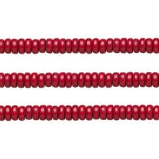 Wood Rondelle Beads Cranberry Red 8x4mm 16 Inch Strand