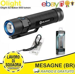 Torcia Olight S2 Baton Ricaricabile 950 Lumen 142 metri CREE LED USB XM-L2 6 mod
