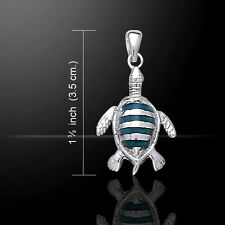 Sea Turtle Genuine Paua Shell .925 Sterling Silver Pendant Peter Stone Jewelry