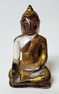 ANTIQUE SOUTHEAST ASIAN GILDED CARVED ROCK CRYSTAL BUDDHA STATUE - SUKHOTHAI