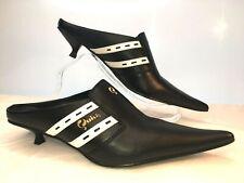 QUICK Unisex Black & White Leather Mules Low Heel Pointed Toe Size UK 6 / 39 NEW