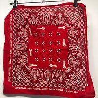 Key WorkWear Bandana Red Vintage Paisley Handkerchief Square Cotton Key oVerall
