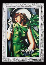 QUADRO Tamara de Lempika donna in verde con cornice moderna PRONTO D'APPENDERE