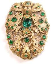 Huge Art Deco Czech Green with Yellow Glass Rhinestone Fur Dress Clip Pendant