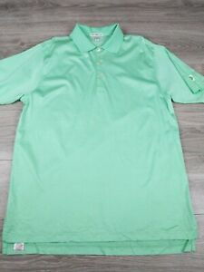Peter Millar Mens Sz L Cotton Green Striped Short Sleeve Polo Shirt Embroidered