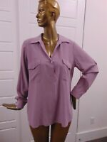 New Eileen Fisher Mauve Silk Crepe Henley Shirt Blouse Top sz L