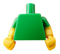 Lego Torso in grün einfarbig gelb grüne Arme gelbe Hände 973c83 Oberkörper Neu