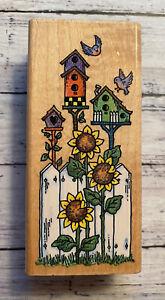 Vintage 1997 Stampendous Birdhouse Fence #N048 Rubber Stamp!